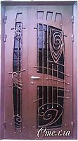 """Двери входные со стеклопакетом и ковкой полуторные """"СТЕЛЛА"""""""