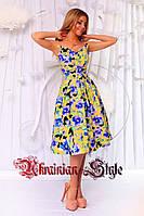 Нарядное цветочное летнее платье без бретелей.