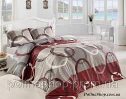 """Комплект постельного белья ALTINBASAK Ранфорс """"Fiori"""" bordo Семейный 50х70"""