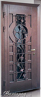 """Двери входные со стеклопакетом и ковкой """"ВИНОГРАД"""" 950*2050 ЛЕВАЯ"""
