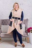 Женская кашемировая жилетка с кожаными карманами, пояс в комплекте