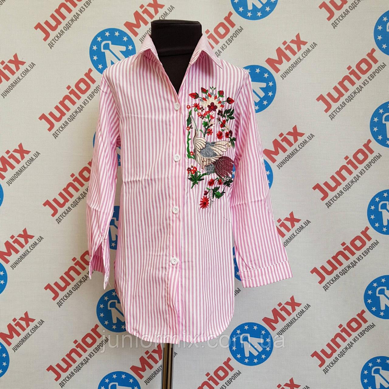 Рубашка на девочку в полосочку с вышивкой HAPPY STAR