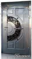 """Двери входные со стеклопакетом и ковкой """"КАЛИПСО"""""""