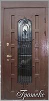 """Двери входные со стеклопакетом и ковкой """"ГРОТЕСК"""""""