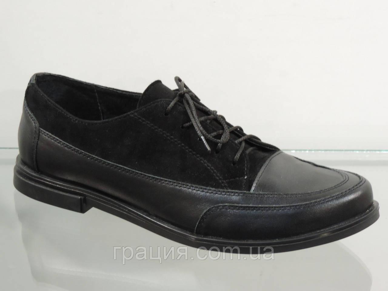 Стильні жіночі туфлі на шнурках шкіра/замша натуральна