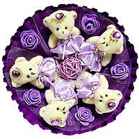 Букет из мягких игрушек Мишки на фиолетовом
