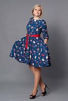 Модное женское платье с рисунком р.48-52 синее V267-02