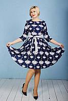 Модное женское платье с рисунком р.48-52 синее V267-03