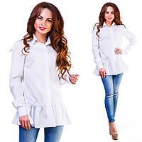 Женская удлиненная блузка-рубашка на пуговицах с длинным рукавом