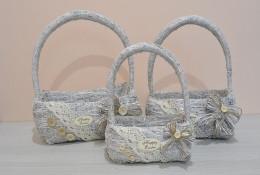 Набор 3ш сумка корзина из сена белая