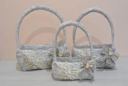 Набор 3ш сумка корзина из сена белая, фото 2