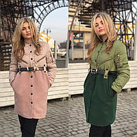 Пальто в стиле Yves Saint Laurent плащевка и кашемир 3 цвета Gm25