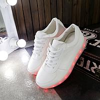 Кроссовки детские с LED подсветкой D1172 низкие белые