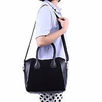 Женская сумка черная со вставками замши, фото 1