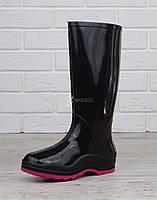 Резиновые сапоги женские Vuitton высокие черные марсала, Черный, 41