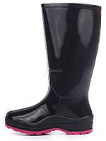 Резиновые сапоги женские Vuitton высокие черные марсала, Черный, 38