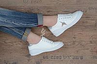Кроссовки слипоны женские белые со звездой Silver star на шнуровке, Белый, 39