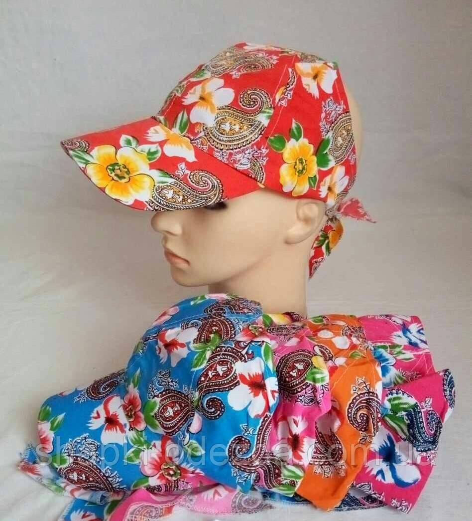 Кепка для девочки с цветком (хлопок) р-ры 56 зади открыта