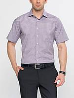 Мужская рубашка LC Waikiki с коротким рукавом белого цвета в сиреневую клетку