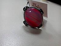 Кольцо с натуральным камнем ботсванский агат в серебре.Кольцо с агатом