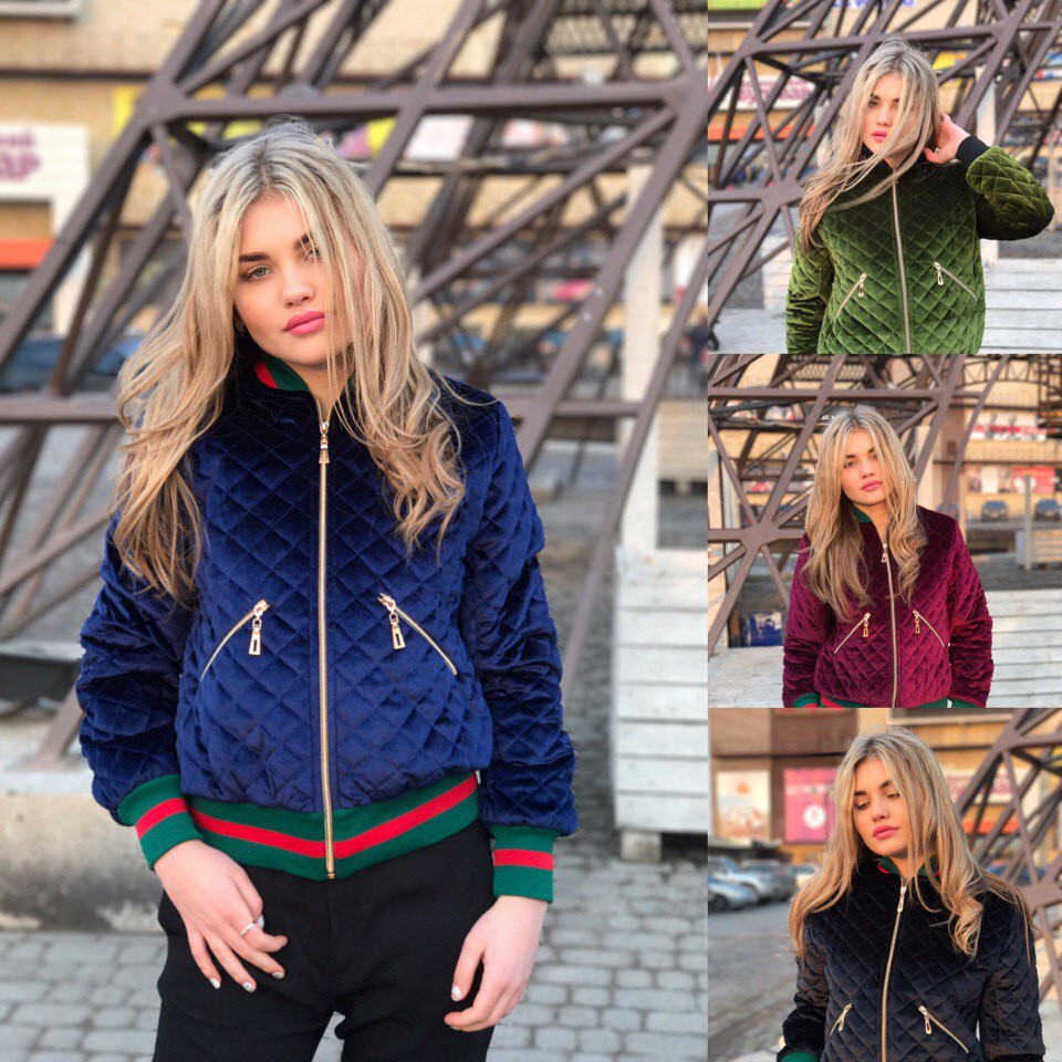 Куртка бомбер из бархата люкс качества на утеплителе с отделкой Gucci 4  цвета Gm79 - Shoppingood a16c5deef9c