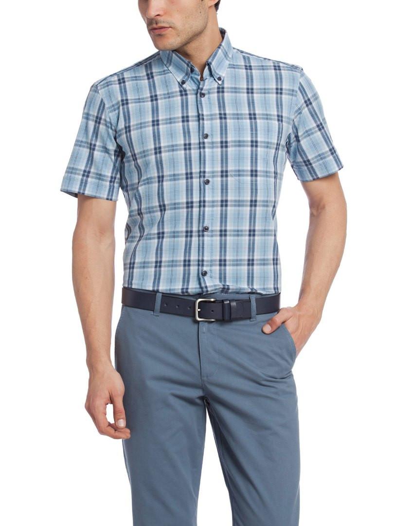 Мужская рубашка LC Waikiki с коротким рукавом голубого цвета в синие полоски
