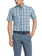 Мужская рубашка LC Waikiki с коротким рукавом голубого цвета в синие полоски, фото 1