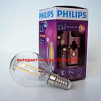 Лампа светодиодная PHILIPS LED Fila 2.3-25W E14 WW P45 ND филаментная, фото 1