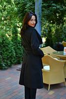 Женское осеннее пальто на запах ниже колен