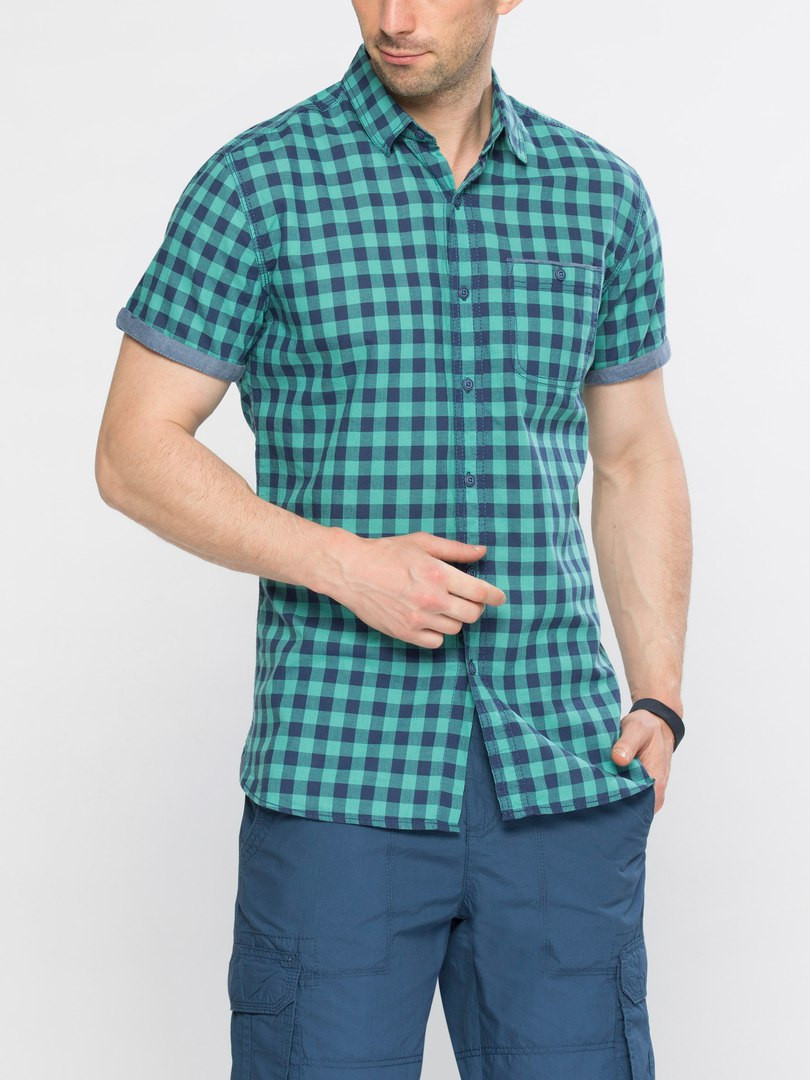 Мужская рубашка LC Waikiki / ЛС Вайкики с коротким рукавом в сине-бизюзовую клетку
