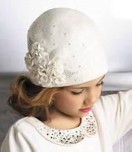 Очаровательная шерстяная шапочка с аппликацией ручной роботы и жемчугом