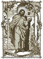 """Вишивка бісером ікона """"Ісус стукає у двері"""" 40х60 (коричнево-бежева сепія) лик вишивається"""