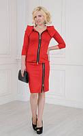 Оригинальный женский красный костюм из юбки и жакета, на молнии