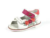 Детские кожаные ортопедические босоножки для девочек р.21 белые с с розовыми цветками