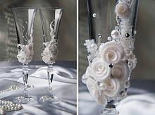 Свадебные бокалы с узором ручной работы