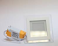 Led светильник 12W КВАДРАТ со стеклом встраиваемый, фото 1