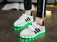 Кроссовки детские Adidas c LED подсветкой D96 белые