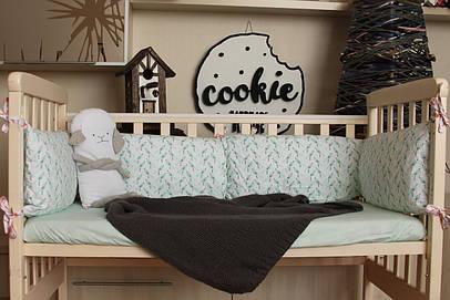 """Бортики у дитяче ліжечко """"Пташки"""" м'ятні"""