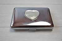 Портсигар металл,полированный с перламутровым сердцем