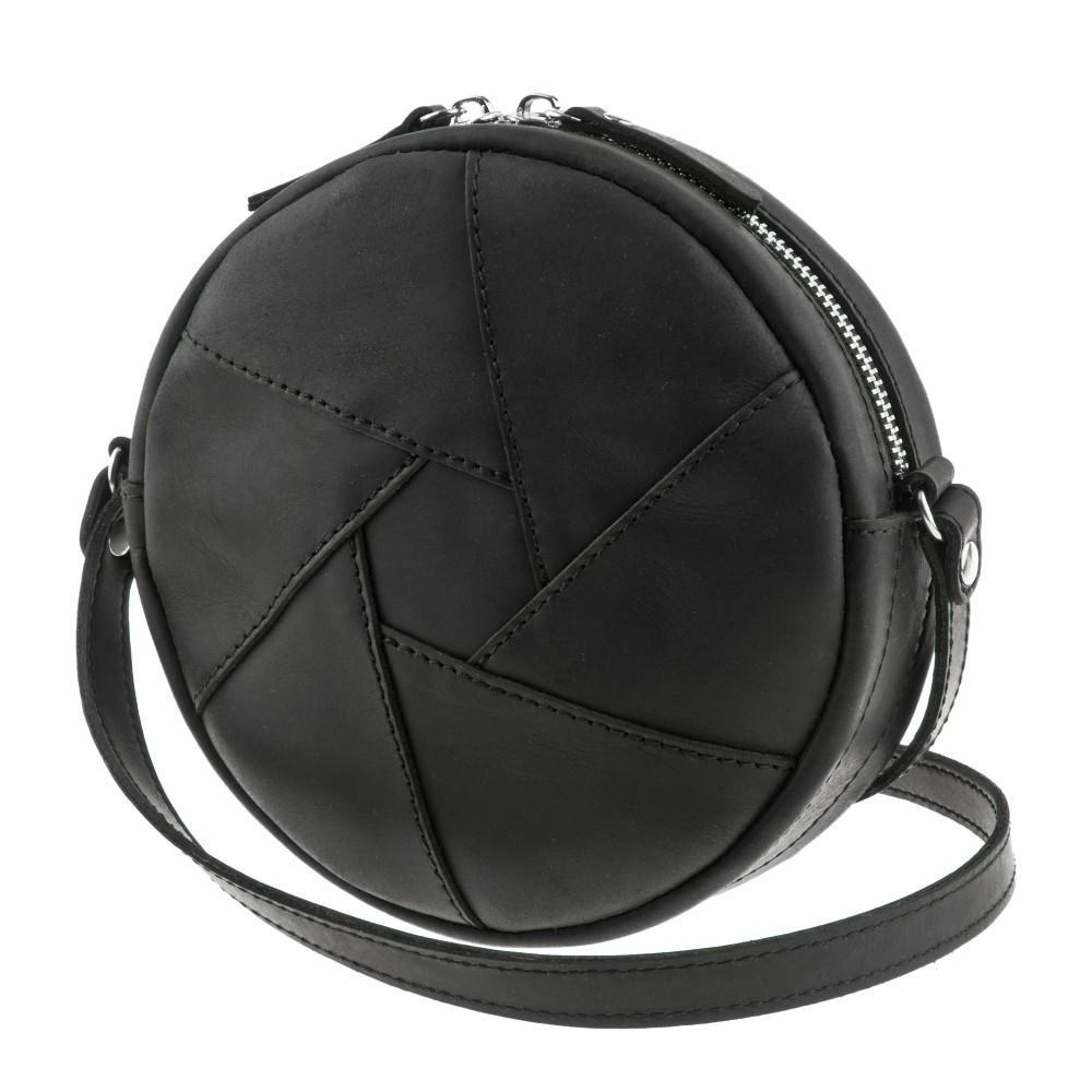 9c5c66fb7574 Круглая женская сумка-клатч кожаная crazy horse черная (ручная работа),  цена 1 420 грн., купить в Одессе — Prom.ua (ID#512584080)