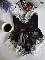 Женский атласный комплект для сна (шортики+майка), фото 1