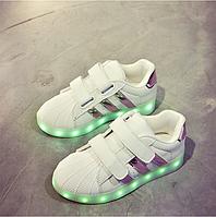 Кроссовки детские Adidas c LED подсветкой D99 белые