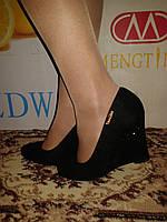 Туфли женские черные на танкетке+каблук.р.36-40.