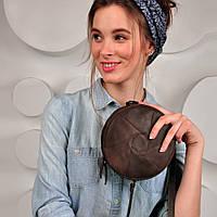 Круглая женская сумка-клатч кожаная коричневая (ручная работа)