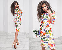 Трикотажное платье с цветами