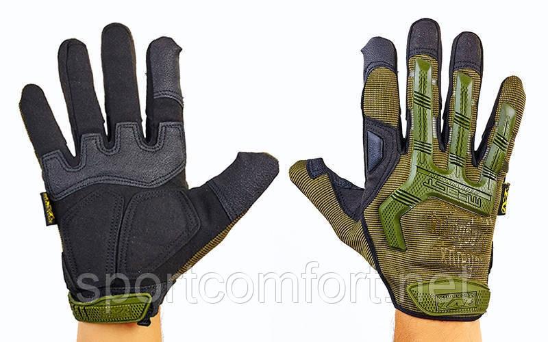 Перчатки тактические Mechanix Wear Olive с защитой костяшек пальцев