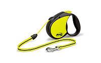 FLEXI NEON small Поводок-рулетка для мелких собак, хорьков и кошек, 5м (трос), до 12 кг, черный