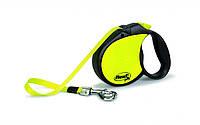FLEXI NEON large Поводок-рулетка для средних и крупных собак, 5м (лента), до 50 кг, черный