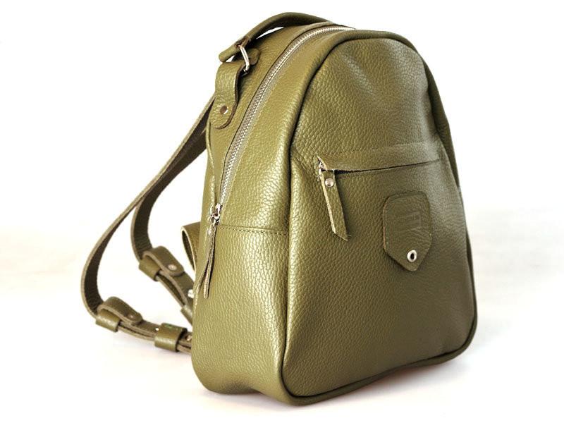 Рюкзак кожаный женский оливковый