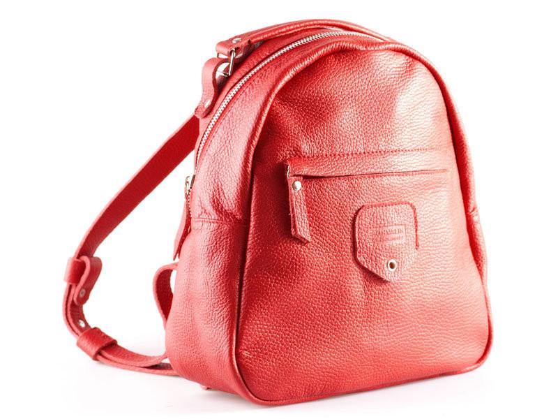 Рюкзак кожаный женский красный